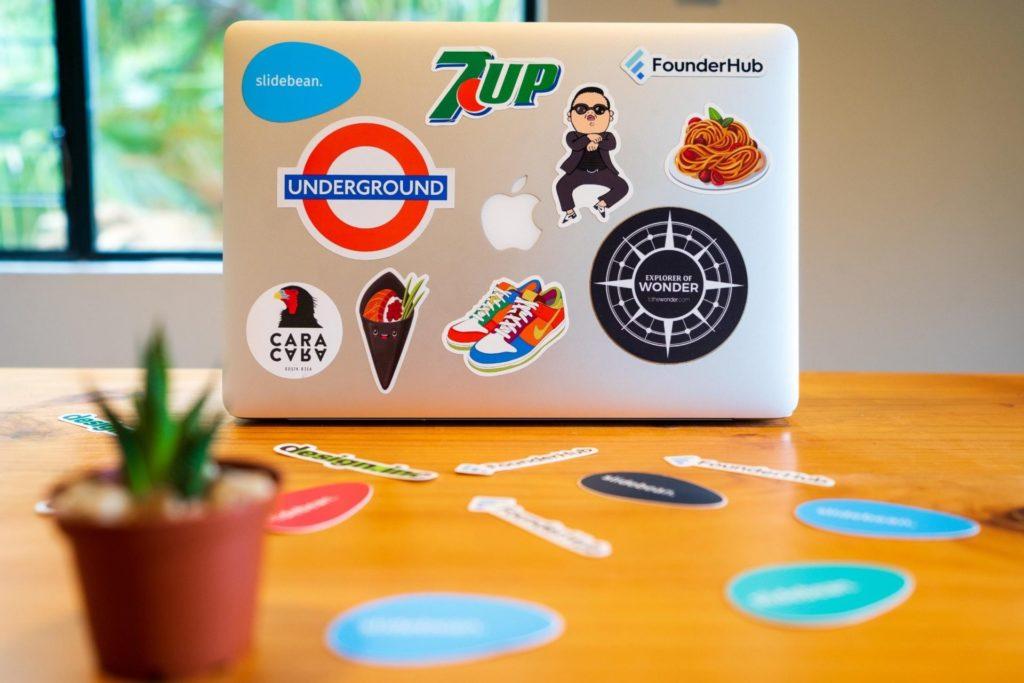 stickers on laptop back side