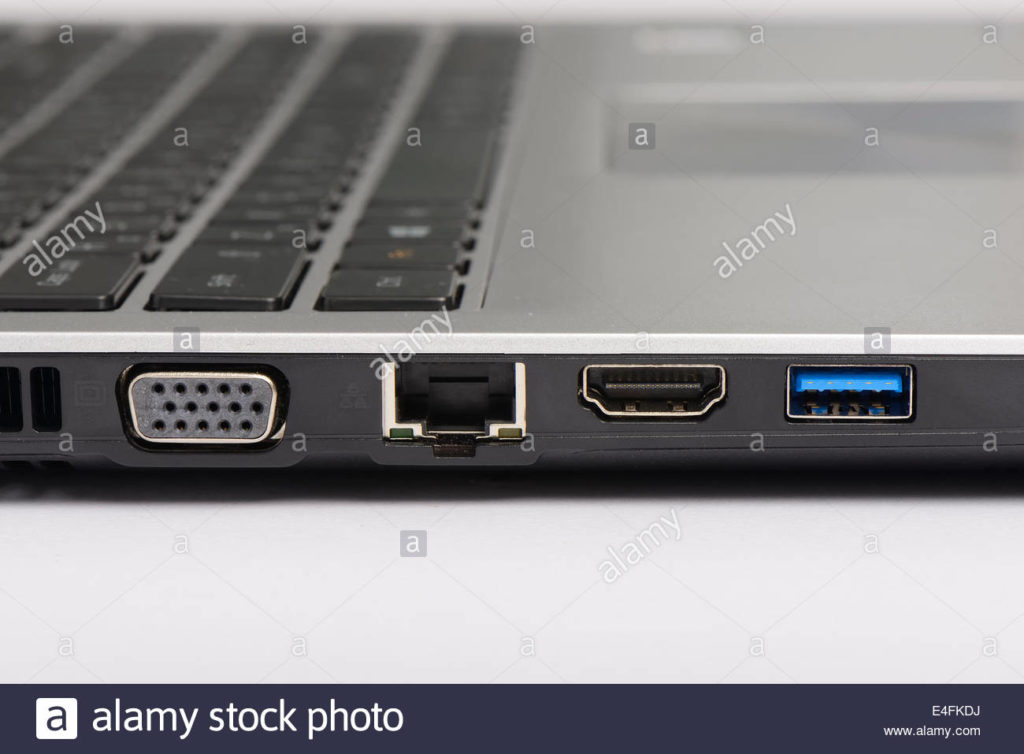 Different Connectivity Ports Of A Laptop