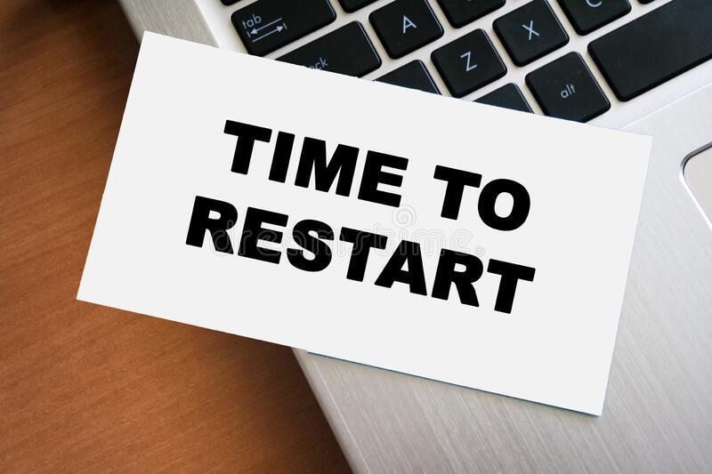 Time to Restart Sticker on Laptop
